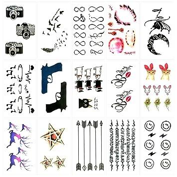 Oottati 15 Hojas Pequeñas Cute Tatuajes Temporales Cámara Pluma ...