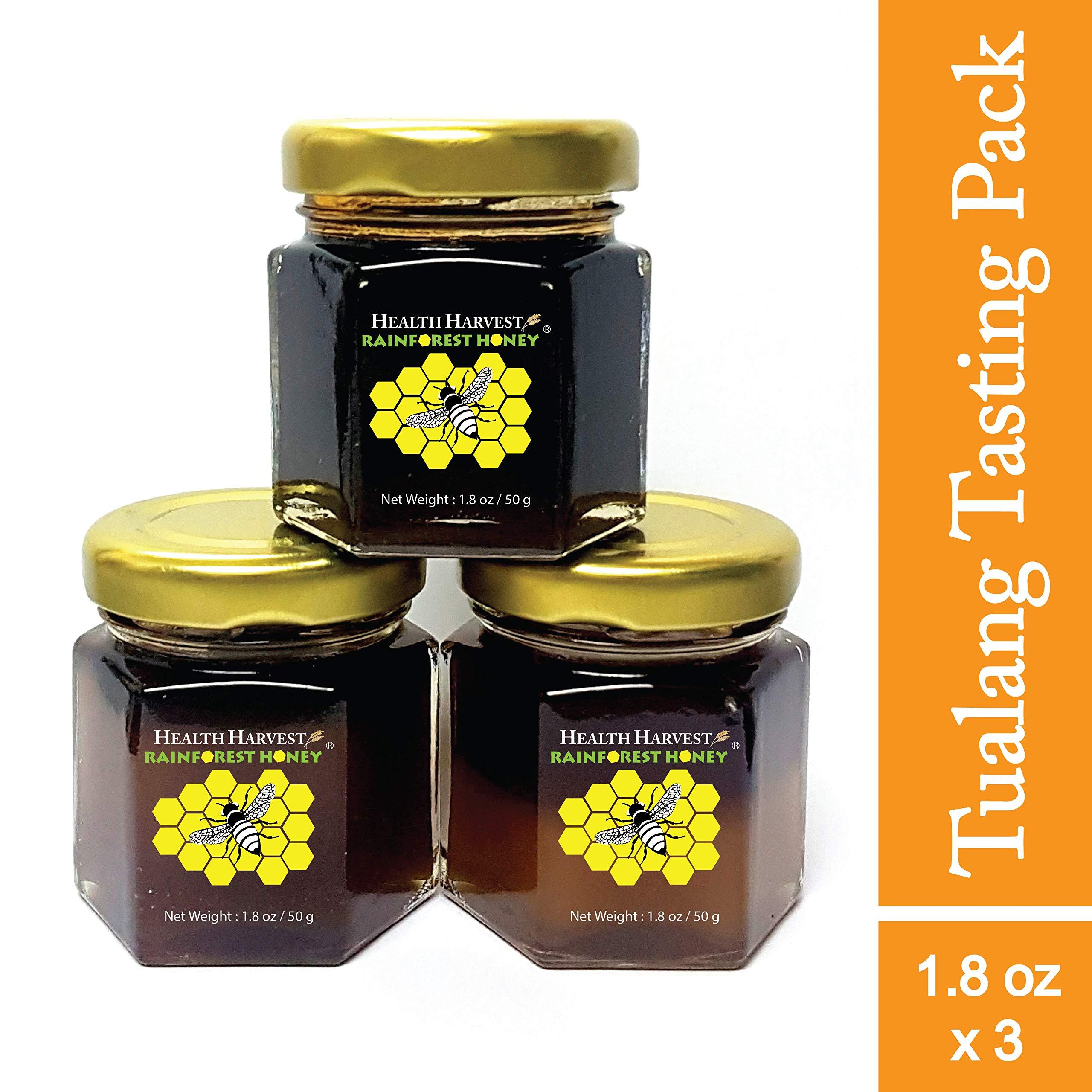 Tualang Honey 1.8 oz x 3 Jars (Tasting Mini-Pack: Black, Red, Yellow Honey)   Best Season Wild Harvested from Sumatra Tropical Rainforest   Raw, Unpasteurized, Unfiltered   Award-Winning