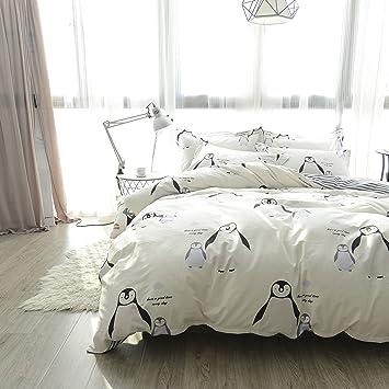 LELVA Kids Bedding 4 Piece Penguin Pirnt Duvet Cover Set Teen Cotton Beige  Bedding In A