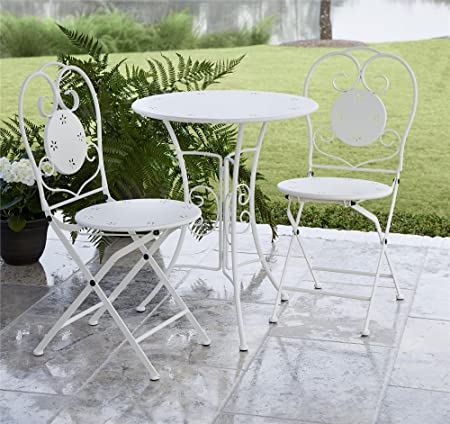 COSCO 87611WHT1E Outdoor LivingINTELLIFIT 3 Piece Small Space Bistro Patio Set, Table and Folding Chairs, White