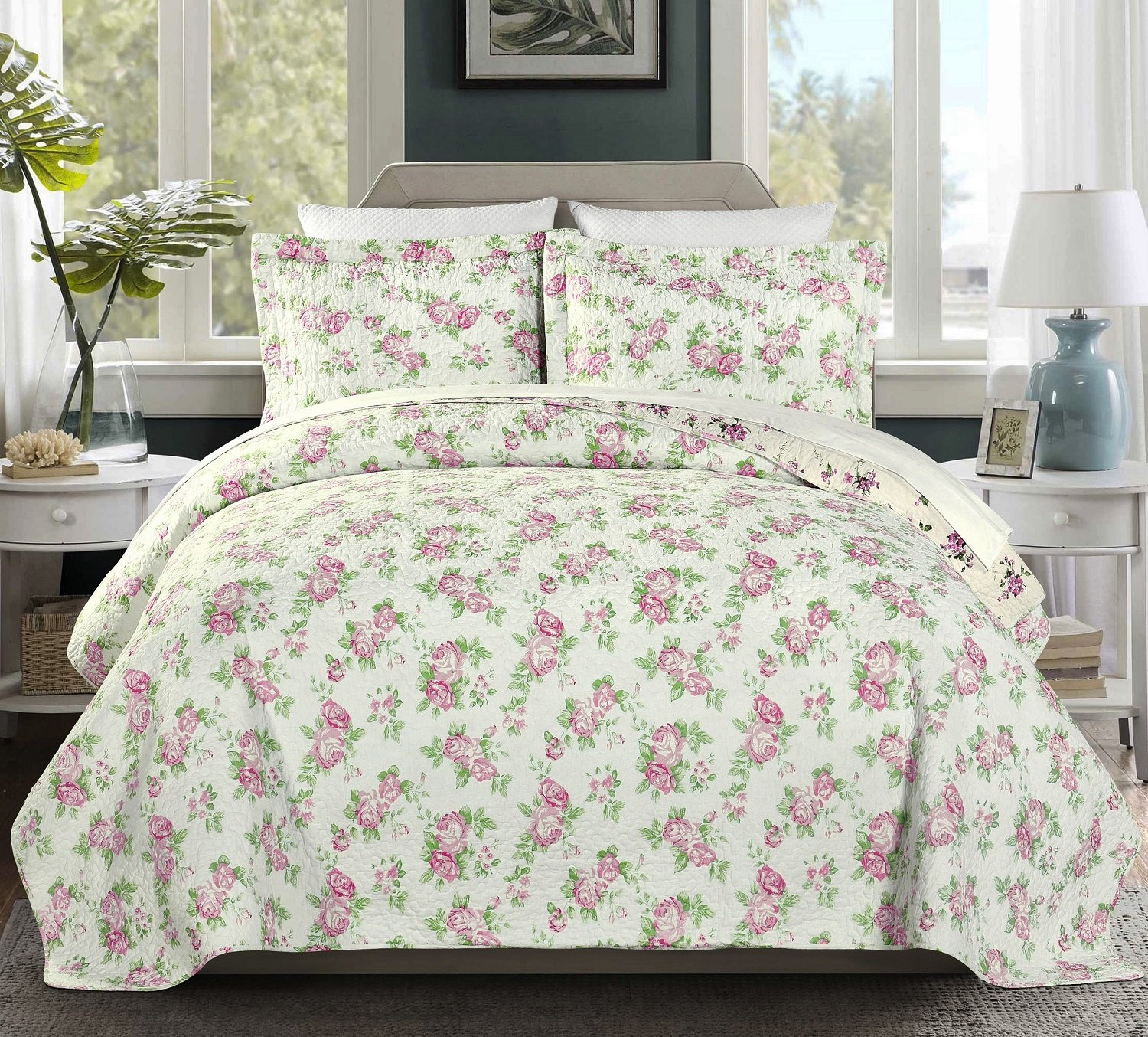 Chezmoi Collection 3PC 2-in-1 Reversible Pink Rose Vintage Washed 100%-Cotton Quilt Set