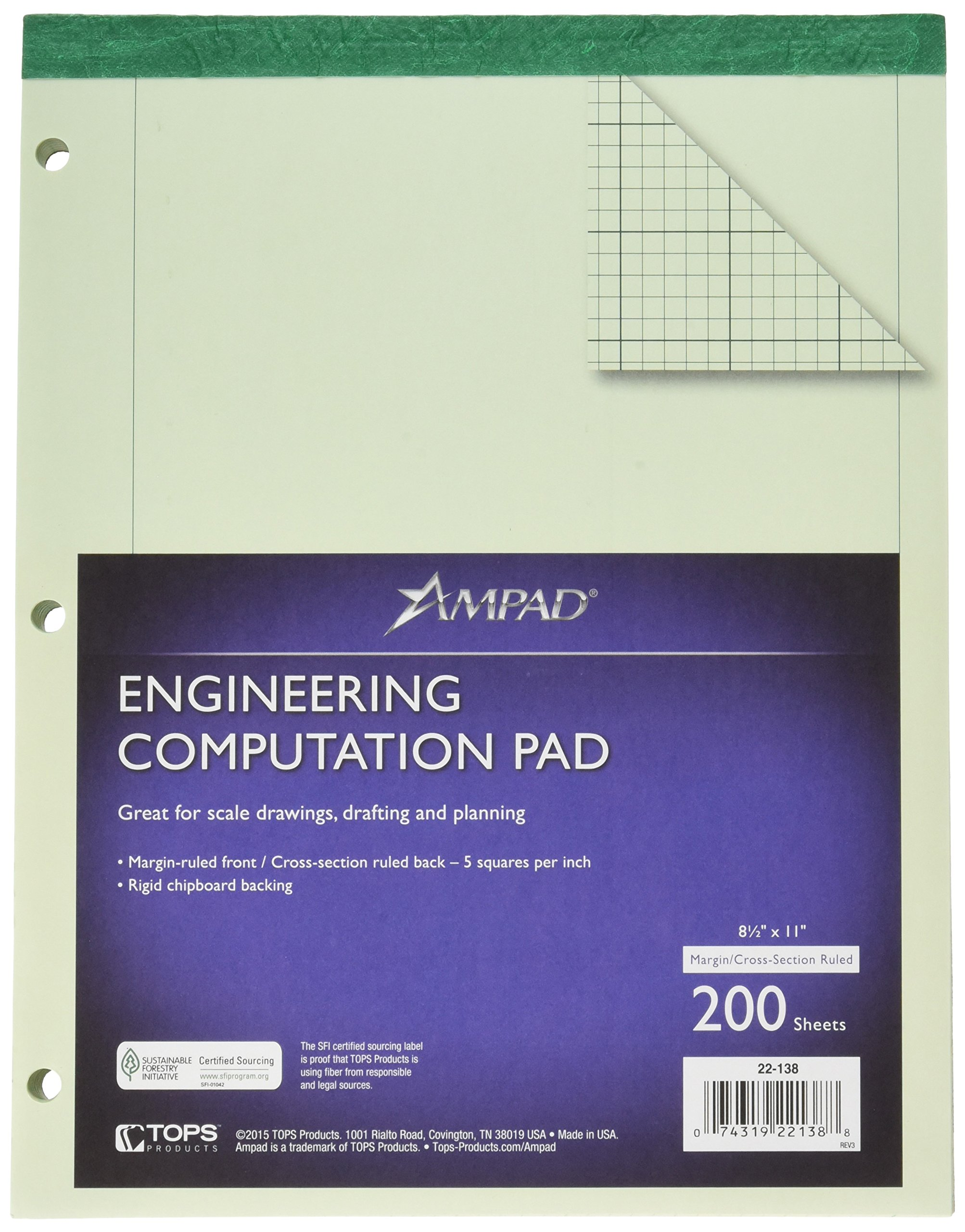 Ampad 22-138  Evidence Engineering Computation Pad, 3 Hole Punched, 8 1/2X11, Greentitnt, 5 Sq. / In. 200 Sheets Per Pad