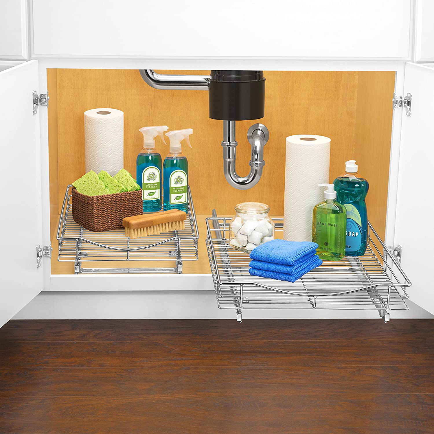 Lynk roll out under sink cabinet organizer pull out two tier sliding - Lynk Professional Roll Out Cabinet Organizer Pull Out Under Cabinet Sliding Shelf 14 Inch Wide X 21 Inch Deep Chrome Amazon Ca Home Kitchen