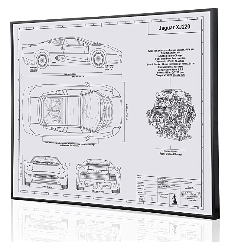Acura NSX Blueprint Artwork-Laser Marked /& Personalized-The Perfect Acura Gifts