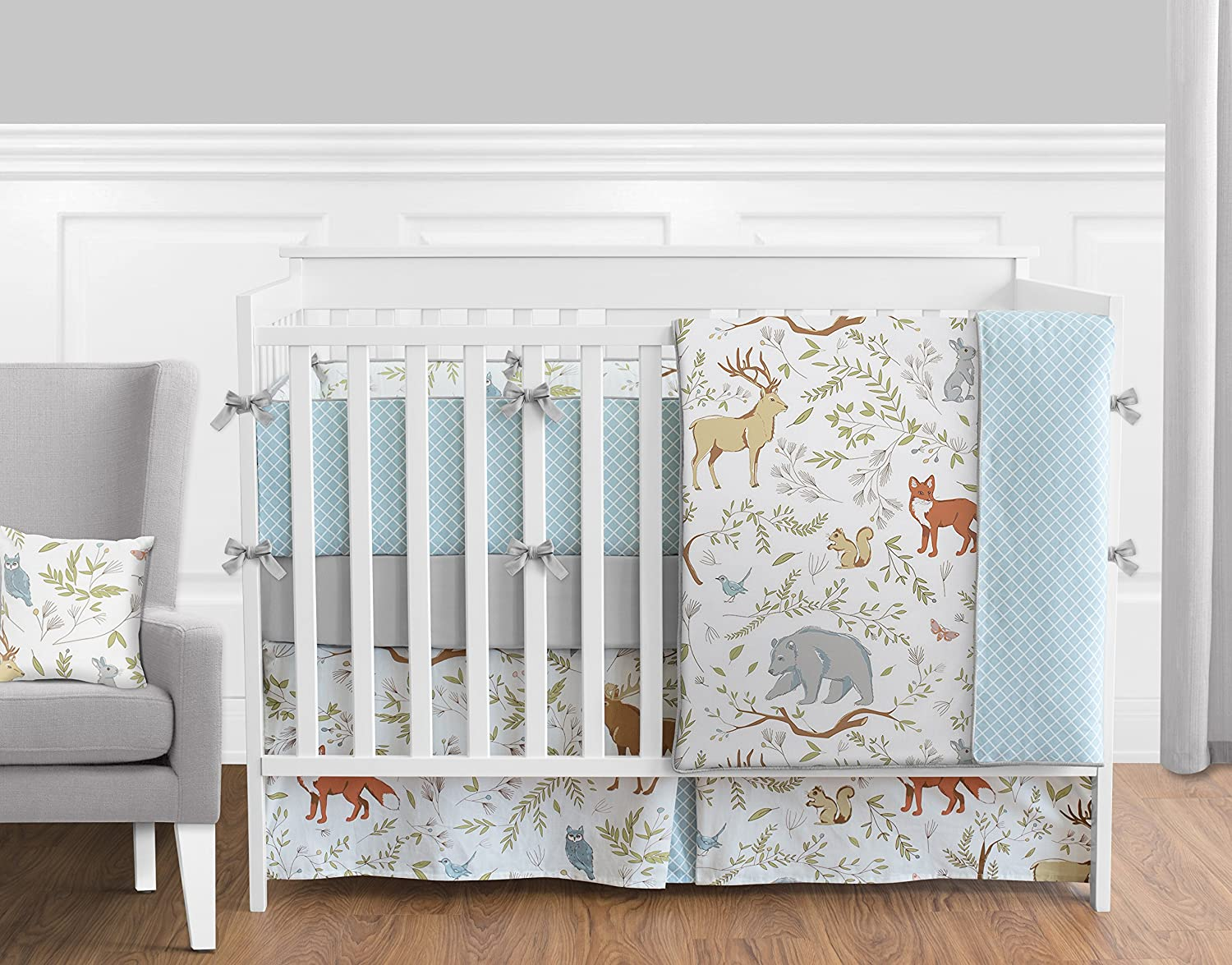 Sweet Jojo Designs 9-Piece Blue, Grey and White Woodland Deer Fox Bear Animal Toile Baby Girl or Boy Crib Bedding Set