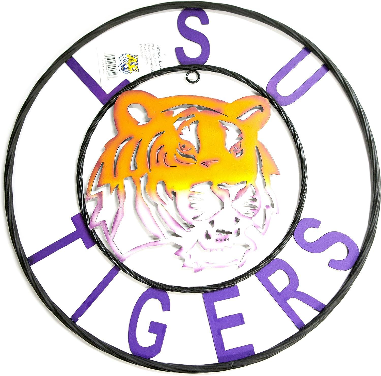 LRT SALES LLC NCAA LSU Tigers Collegiate Wrought Iron Wall Decor, Black/LSU Purple and Gold, 24-Inch