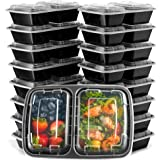 Ez Prepa [20 Pack] 28oz 2 Compartment Meal Prep Containers with Lids - Food Storage Containers Bento Box Lunch Box Made of BPA Free Plastic, Stackable, Reusable, Microwavable, Freezer, and Dishwasher
