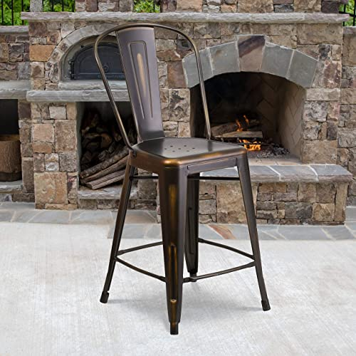 Flash Furniture Commercial Grade 4 Pack 24″ High Distressed Copper Metal Indoor-Outdoor Counter Height Stool