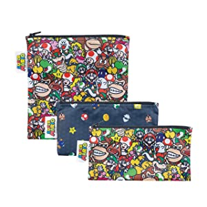 Bumkins Sandwich Bags/Snack Bags, Nintendo Reusable, Washable, Food Safe, BPA Free, 3-Pack – Super Mario Power Up