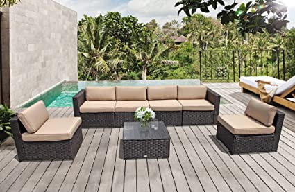Outdoor Patio Conversation Sets, 7PC Outdoor Rattan Sectional Furniture Set  With Beige Seat And Back
