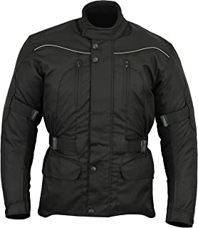 Mens All Black Waterproof CE Armoured Motorcycle/Motorbike Jacket - Sizes M-6XL