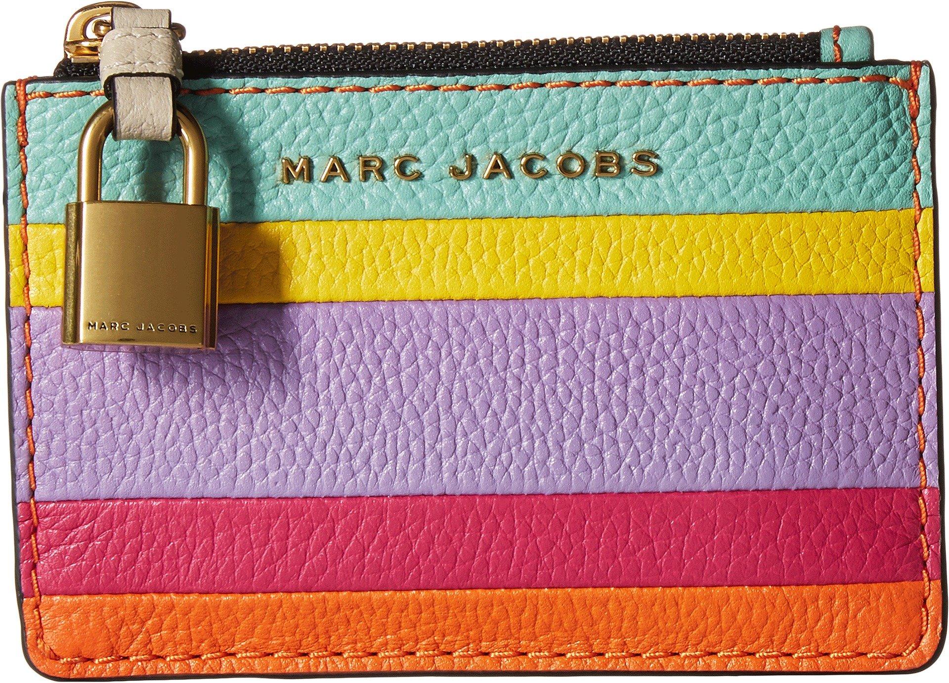 Marc Jacobs Women's The Grind Colorblocked Top Zip Multi Wallet, Mandarin Multi, One Size