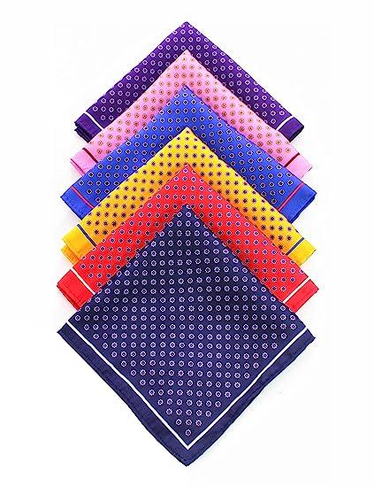 d9d48d72a03fb JEMYGINS 6PCS Red Yellow Pink Blue Silk Pocket Squares for Men Handkerchief  Hanky Set (1