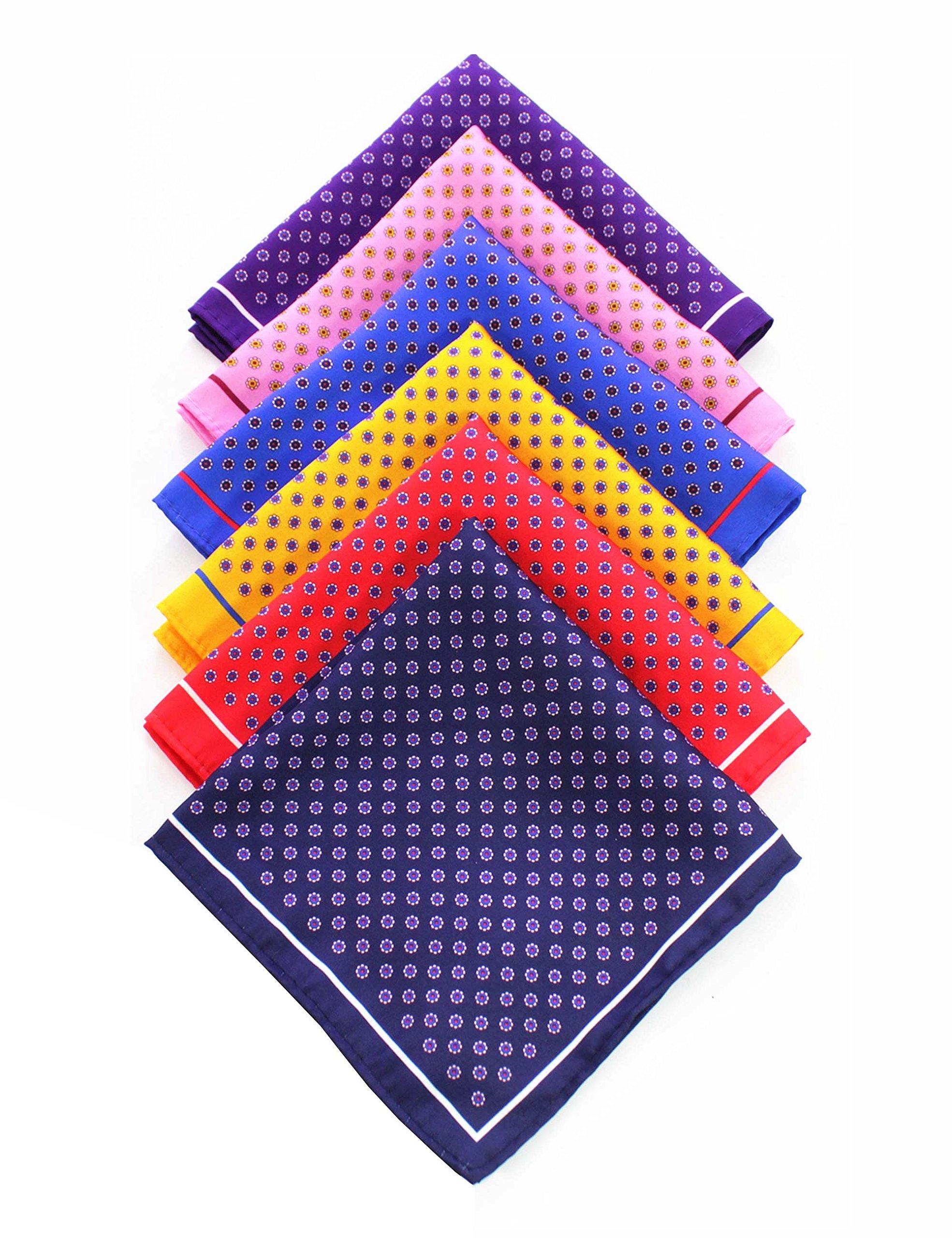 JEMYGINS 6PCS Red Yellow Pink Blue Silk Pocket Squares for Men Handkerchief Hanky Set (1)