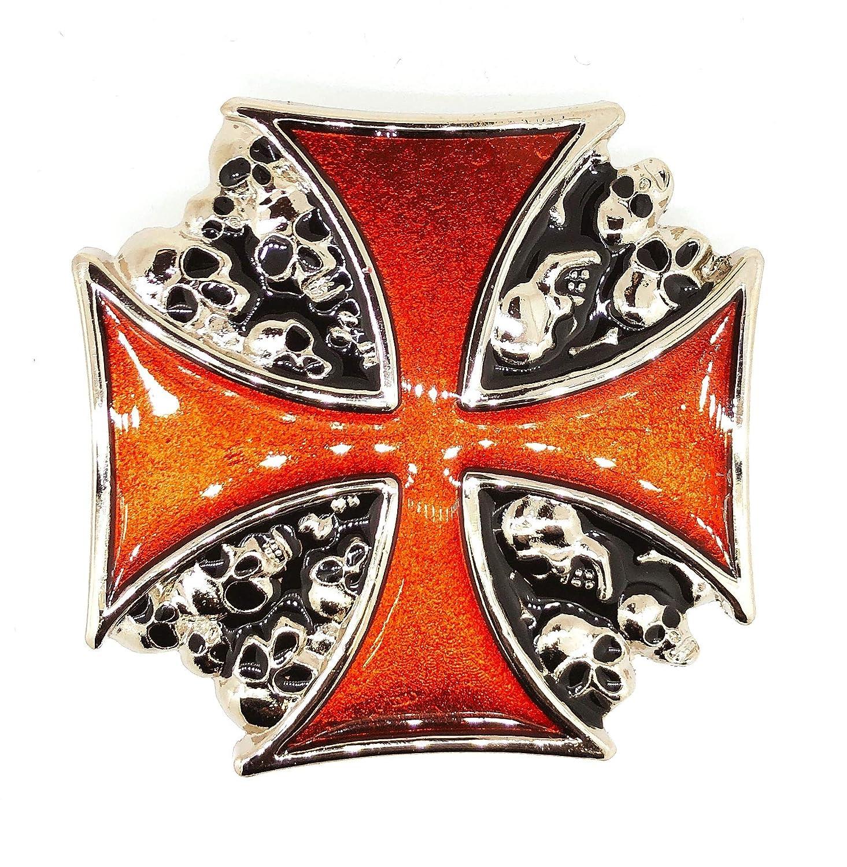 Hebilla de Cinturón Cruz Celta y Calaveras 7,5cm