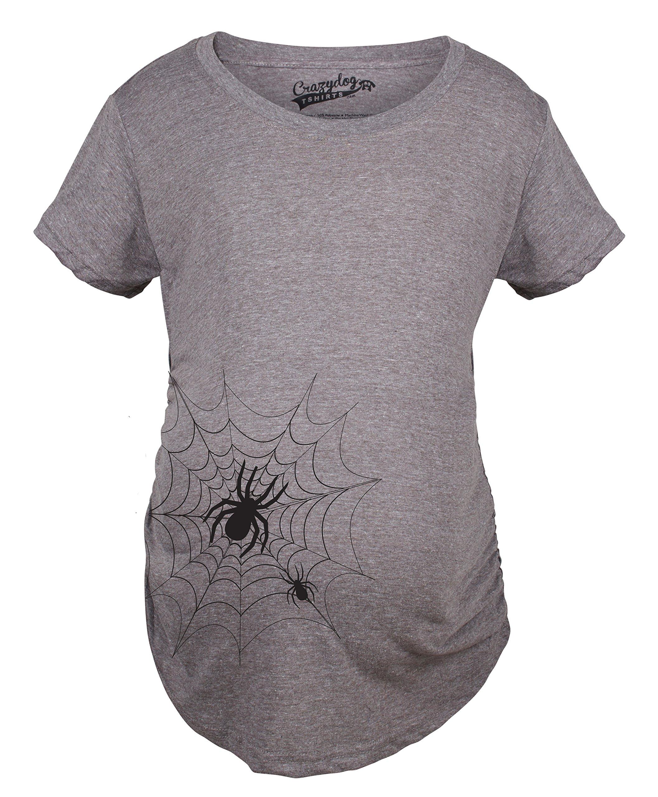 Maternity Spider Web Funny Halloween Announce Pregnancy Tee Baby Bump T Shirt (Dark Grey) -XL