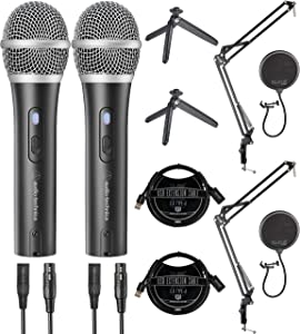 Audio-Technica ATR2100X-USB Dynamic Microphones for Home Studio Recording (2-Pack) Bundle with Blucoil USB Hub Type-A, Boom Arm Plus Pop Filters (2-Pack), and 3' USB Extension Cables (2-Pack)