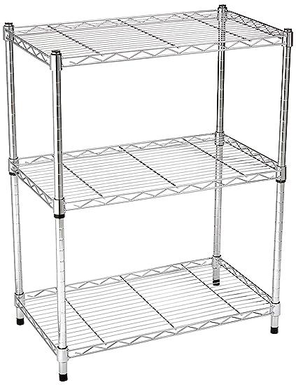 amazon com amazonbasics 3 shelf shelving unit chrome home kitchen rh amazon com chrome kitchen shelving racks chrome kitchen shelving ideas
