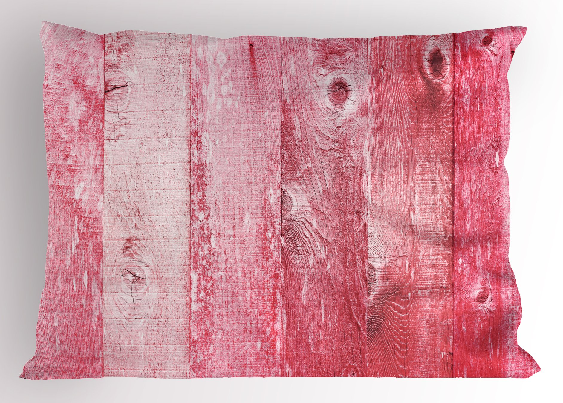 Ambesonne Pink and White Pillow Sham, Distressed Vintage Grunge Texture Image of Wood Planks Painted in Pink, Decorative Standard King Size Printed Pillowcase, 36 X 20 inches, Dark Coral Pink