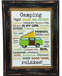 Camping relaxes. Druck Poster A4 Bus Camper Caravan gift AnneSvea Typo Deko Womo
