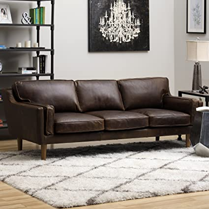 Delicieux ModHaus Living Mid Century Upholstered Chocolate Leather Sofa With Wood  Legs   Includes Pen