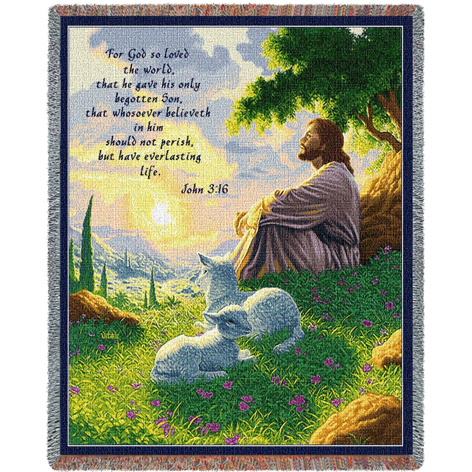 Pure Country Inc. John 3:16 Green Pastures Blanket Tapestry Throw, 54x70, Multi Colored Woven Cotton Yarn by Pure Country