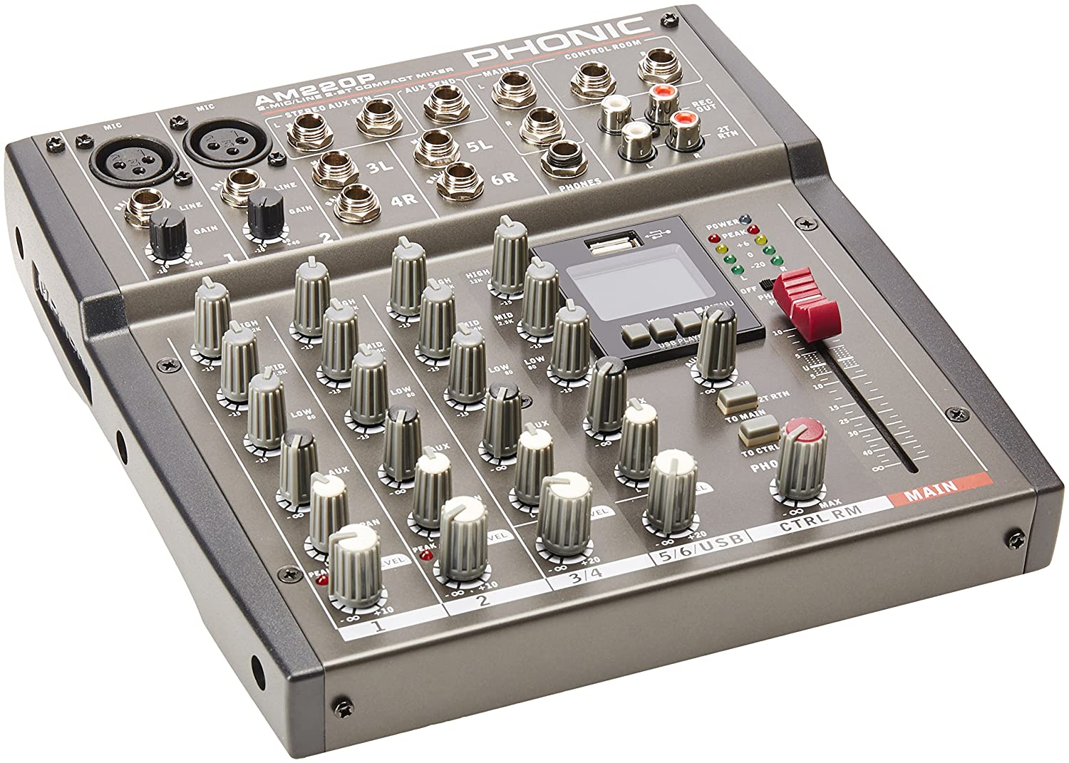 Phonic AM 220P 4channels 20 - 20000Hz - Audio Mixers (4 channels, 20 - 20000 Hz, 90 dB, 10 Ω, 2 Ω, 0.005%) 10 Ω 2 Ω AM 220 P