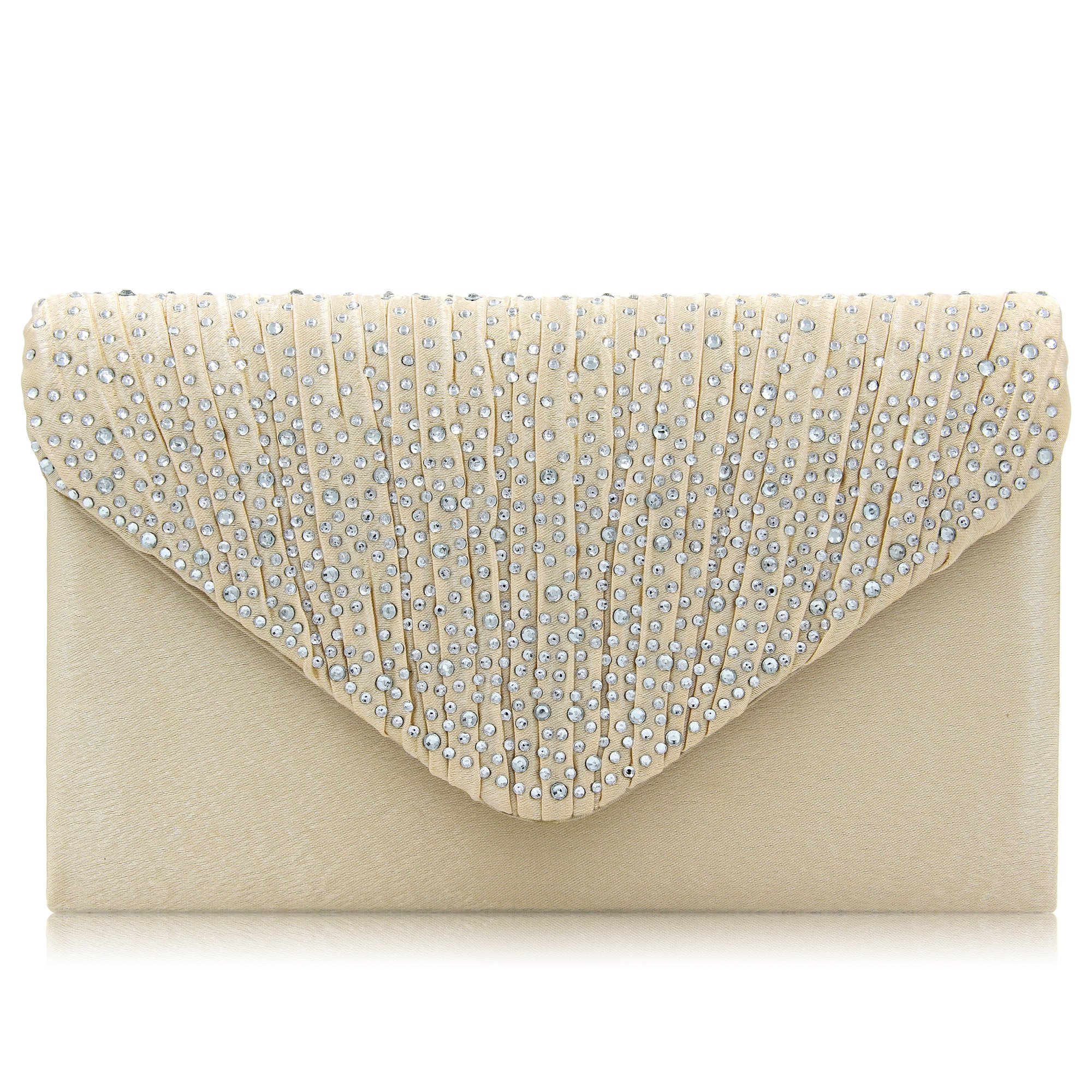 Women Evening Bag Envelope Rhinestone Frosted Clutches Party Bridal Clutch Purse (Beige)