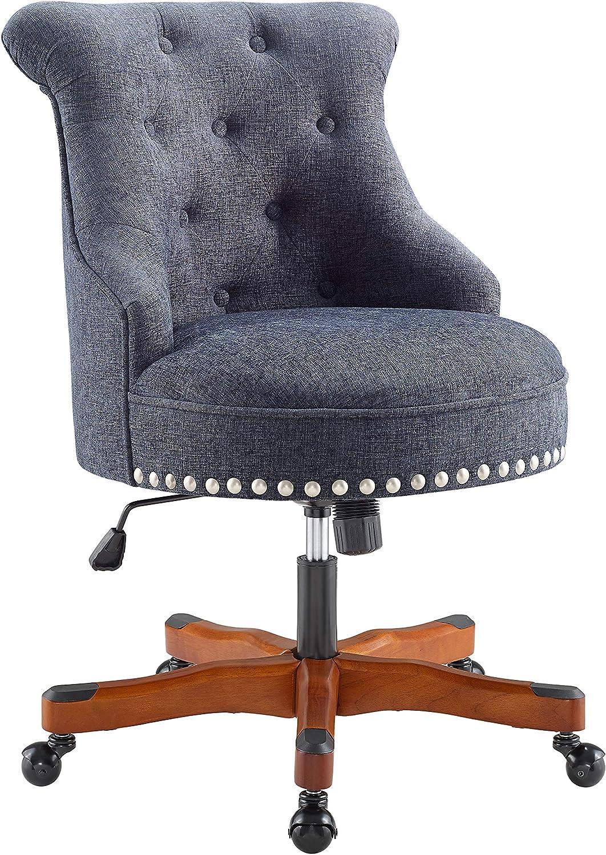 Linon Talia Office Chair with Dark Walnut Wood Base, Blue