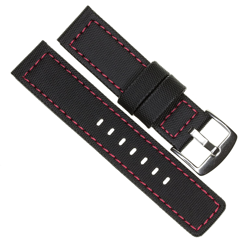 24 mm maratac EliteシリーズブラックPVCラバーストラップDiver Watch BandレッドステッチKevlar x1  B07CLBZ1S4