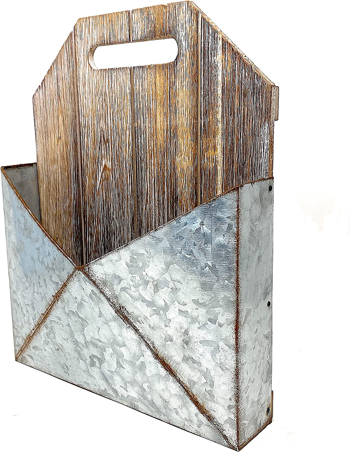 Metal Wood Mail Post Planter Hanging Wall Pocket Organizer Flowers Succulent Mail Tools Rustic Indoor Outdoor 13