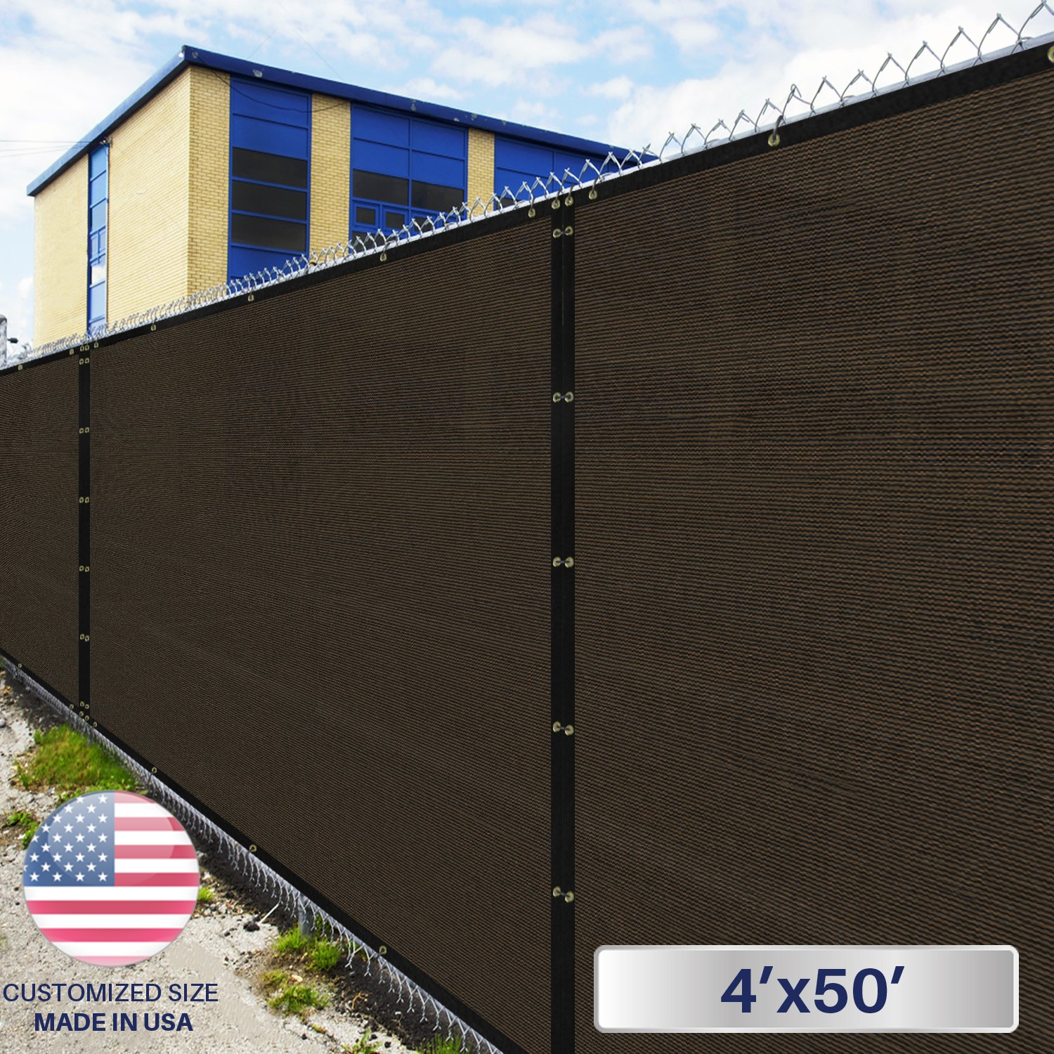 Windscreen4less Heavy Duty Privacy Screen Fence in Color Brown with Black Strips 4' x 50' Brass Grommets w/3-Year Warranty 150 GSM (Customized