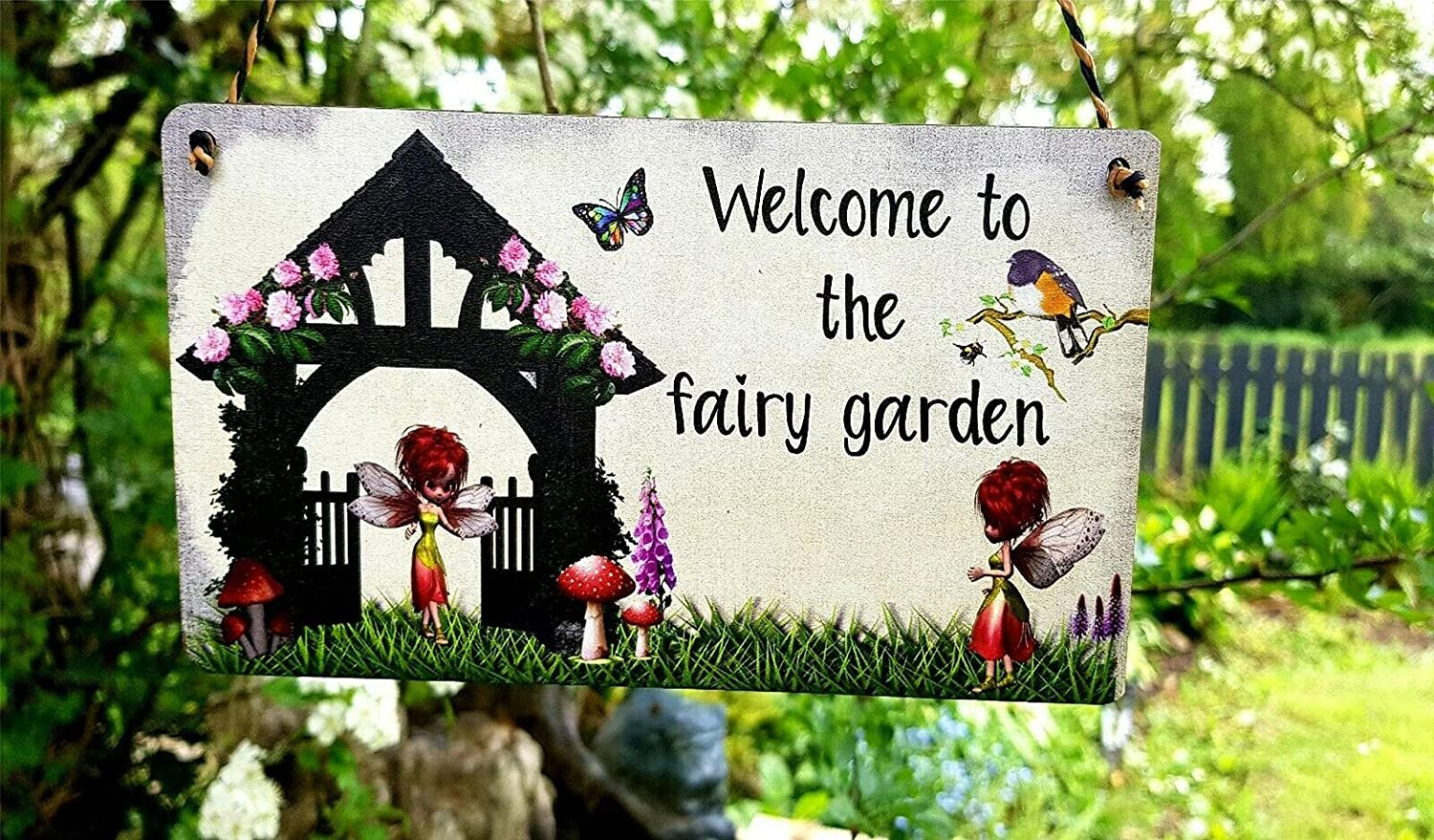 Fairy Garden Sign personalised Any message Hanging plaque