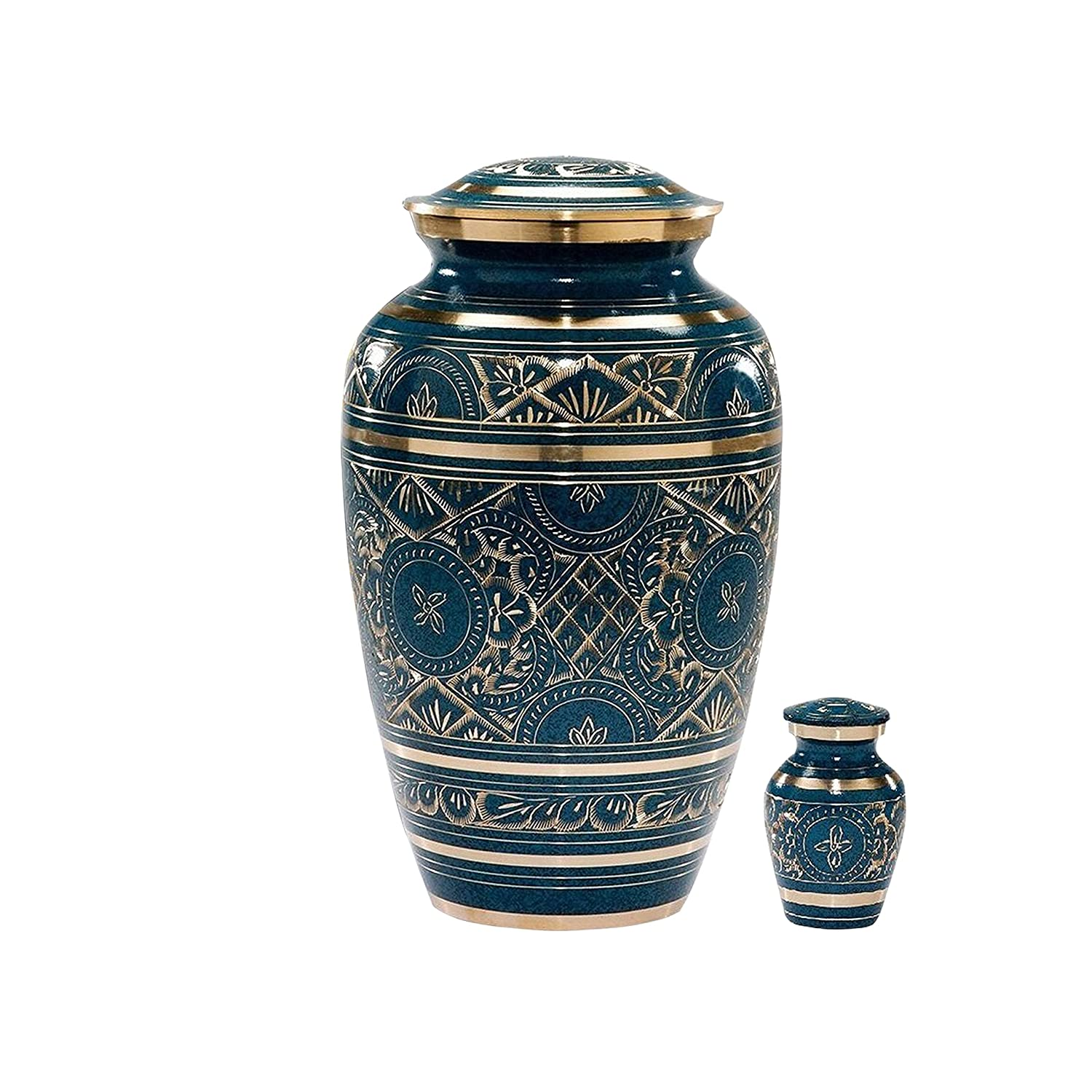 MEMORIALS 4U Caribbean Blue Cremation Urn – Handcrafted Classic Azure Urn for Ashes – Majestic Blue Funeral Urn with Beautiful Gold Etched Design – Large Urn with Free Keepsake Bag