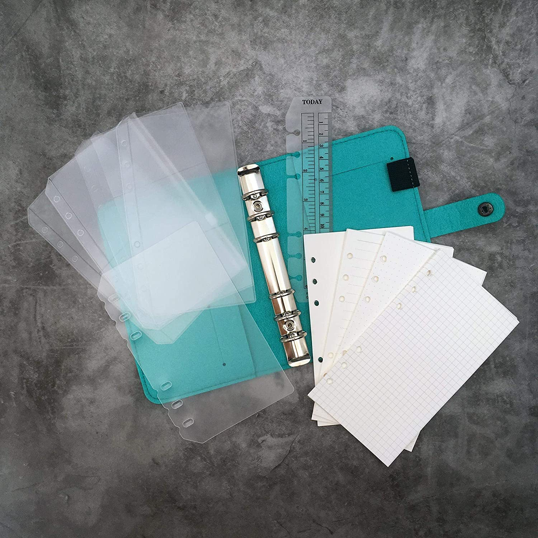 A5 Felt Binder with Pages /& Binder Pocket Combo Set Black