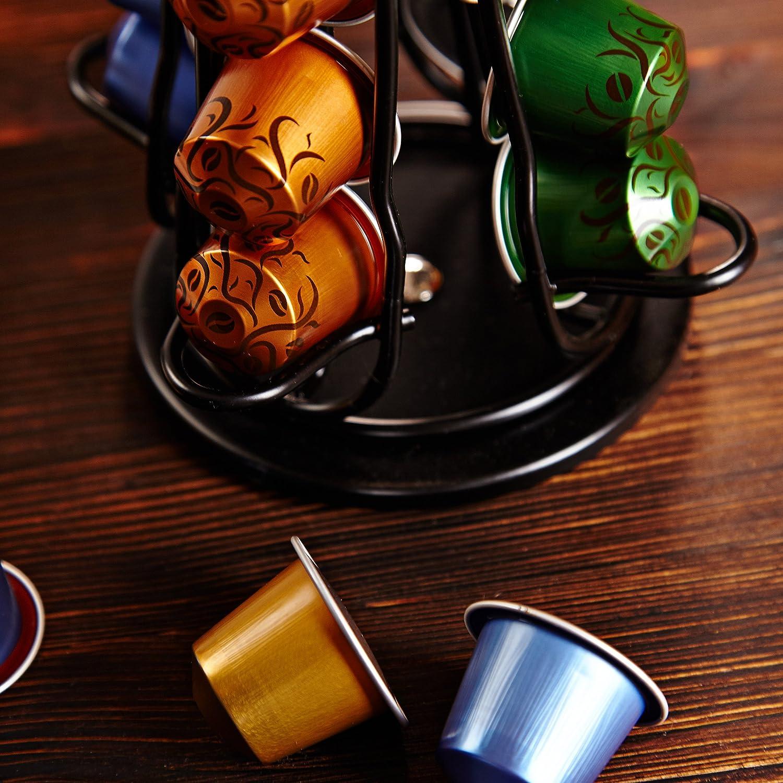 Lumaland Portacapsule girevole per Nespresso 40 capsule rosso a colonna