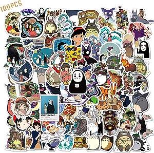 100PCS Studio Ghibli Stickers Hayao Miyazaki Anime Stickers Waterproof Vinyl Stickers Skateboard Luggage Stickers for Kids Teens Adults for Water Bottles Laptop Phone