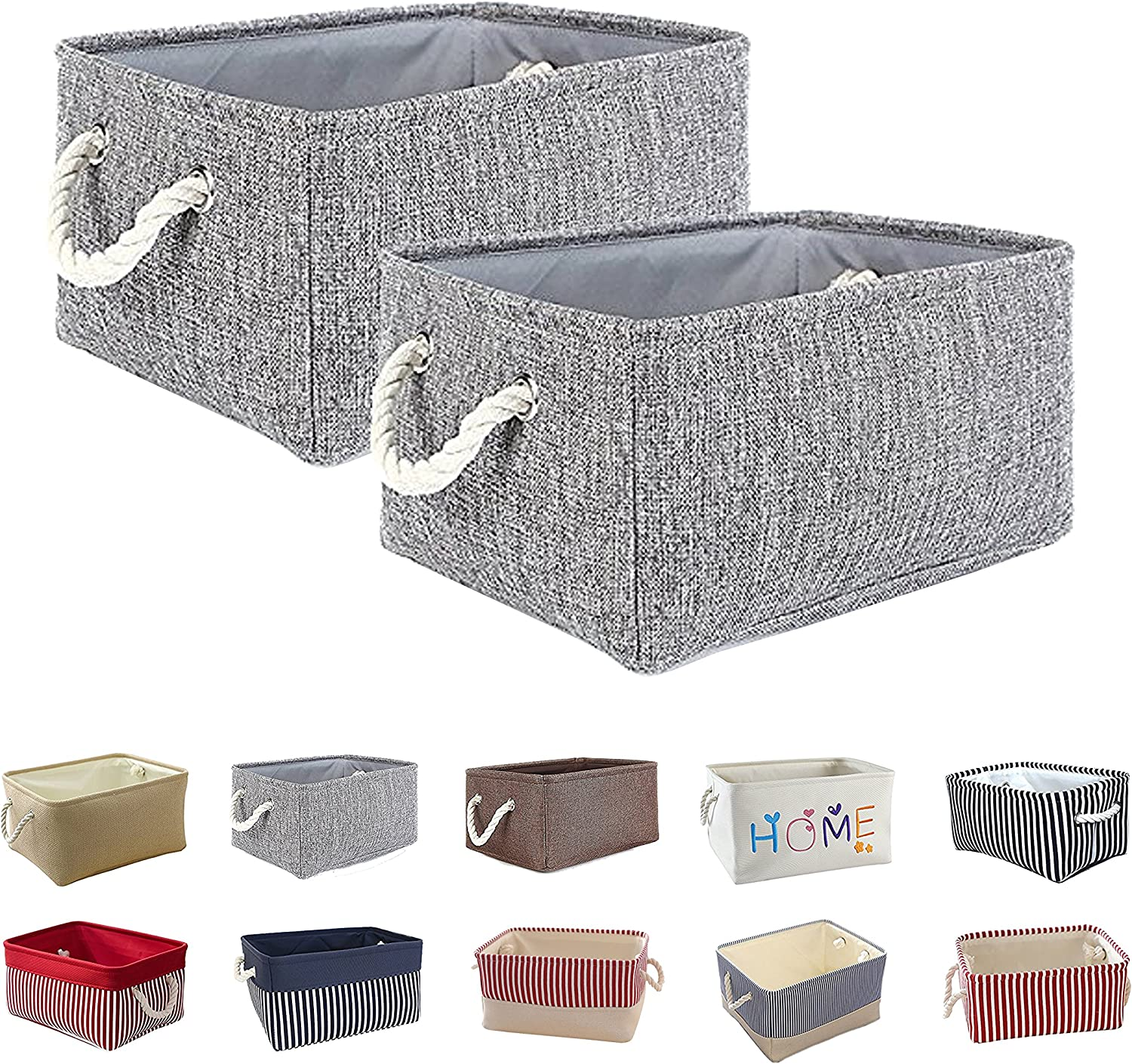 Queenie: 2 Pack Collapsible Fabric Storage Basket Home Organizer and Sizes (Grey, 30 x 20 x 13 cm (11.75 x 8 x 5 Inch))