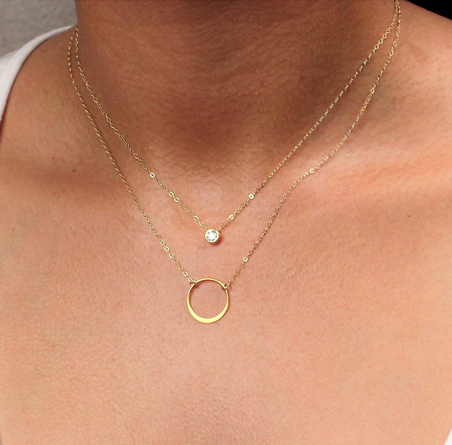65c02937cd82b4 Amazon.com: Delicate Karma Circle Ring and Cubic Zirconia CZ Diamond  Layered Necklace Set, Silver or Gold Layering Jewelry: Handmade