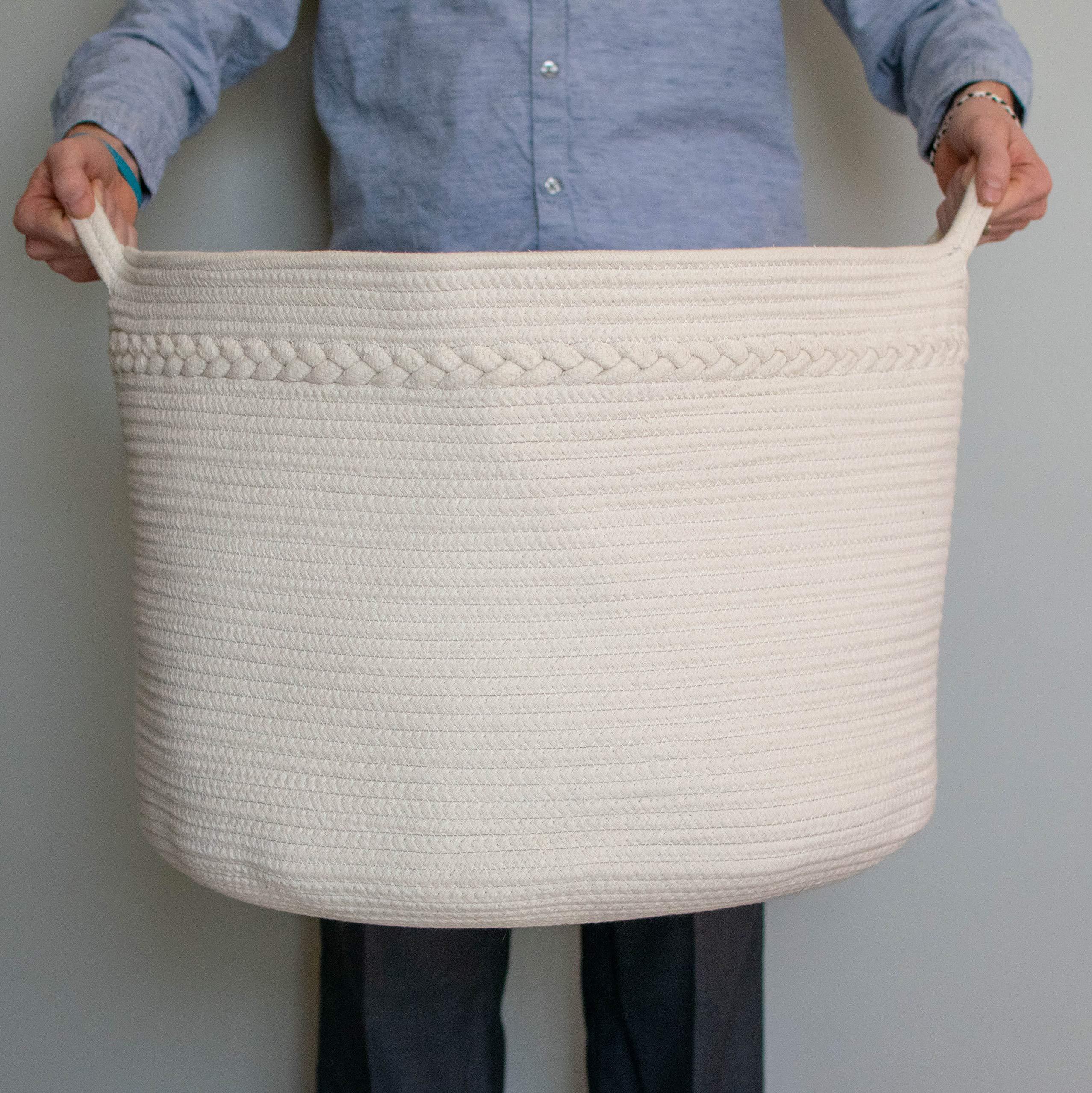 Relodecor XXL Cotton Rope Basket - 22'' X 22'' X 14'' Woven Laundry Basket | Blanket Basket and Toy Storage Basket