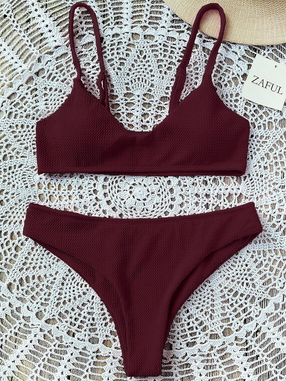 45df439a3cd807 Amazon.com  ZAFUL Bikini Swimwear Sexy Push up Bralette Elegant Cheeky  Bottom Swimsuit Two Piece  Clothing