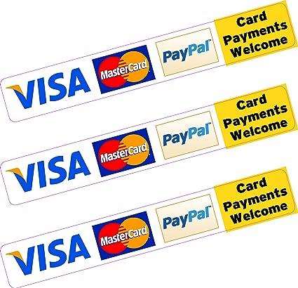 3 x Paypal Visa mastercard Carte Crédit paiement Sticker vinyle ...