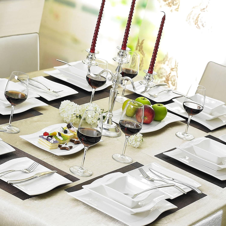 60pcs Service de Table Porcelaine 12 Assiettes Plates 12 Tasses 12 Soucoupes 12 Assiettes à Dessert 12 Assiettes à Soupe Creuses Art de Table Service à Café pour 12 Personnes