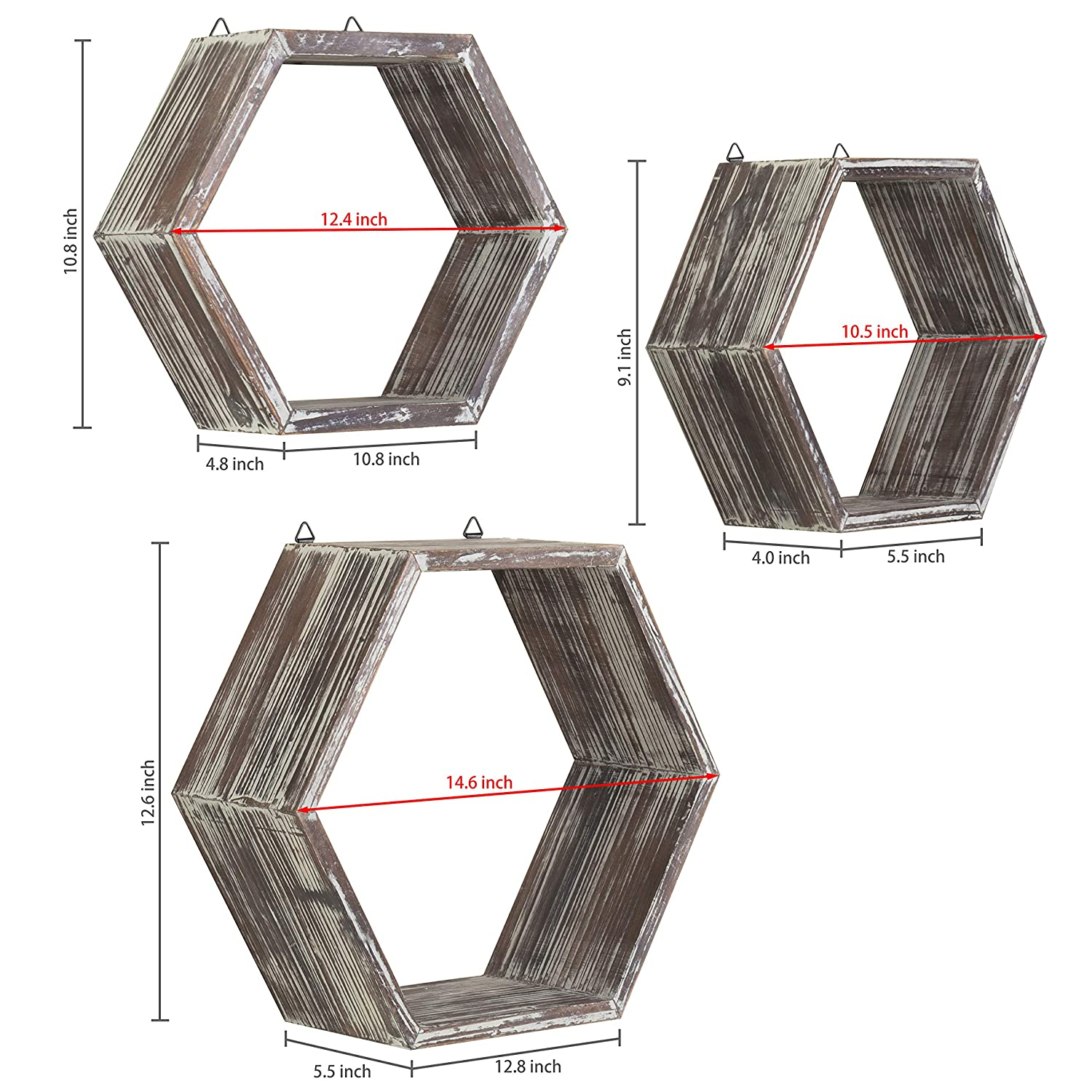 Hexagon Display Shelves MyGift Rustic Wall-Mounted Torched Wood Shadow Boxes Set of 3