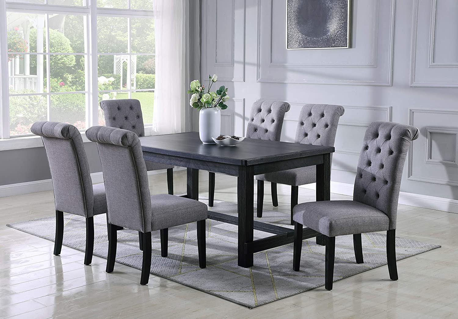 Roundhill Furniture Aneta Antique Black Finished Wood Dining Set, Table with Six Chairs, Gray