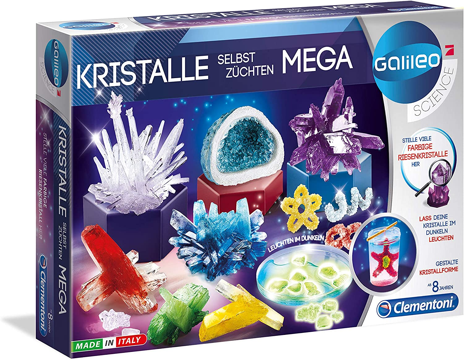 Phosphorescent Crystals Experiment Box for Little Scientists Toy for Children Aged 8 Years and Above Colourful Experiments for Nursery Clementoni 69487 Galileo Science