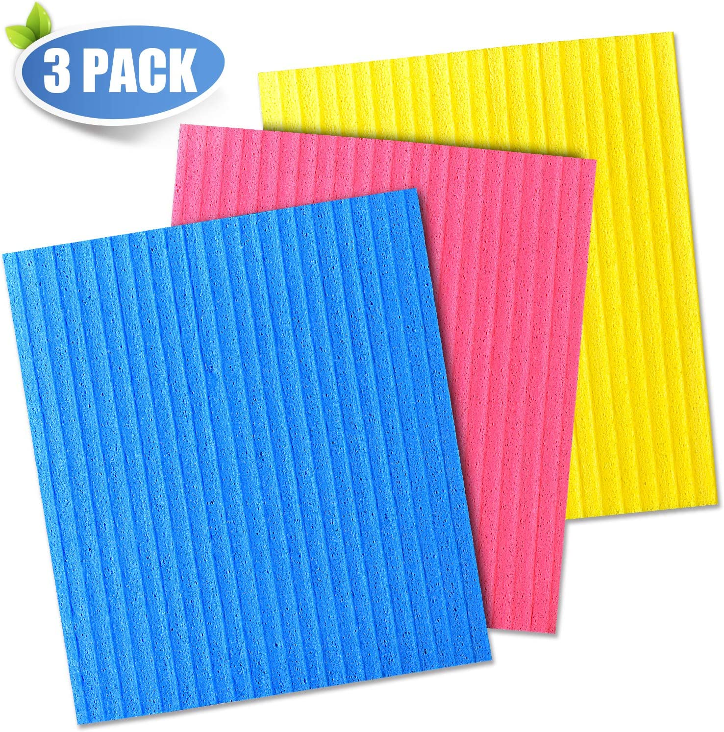 Full Circle Reusable Cellulose Sponge Clothes 3 Pack