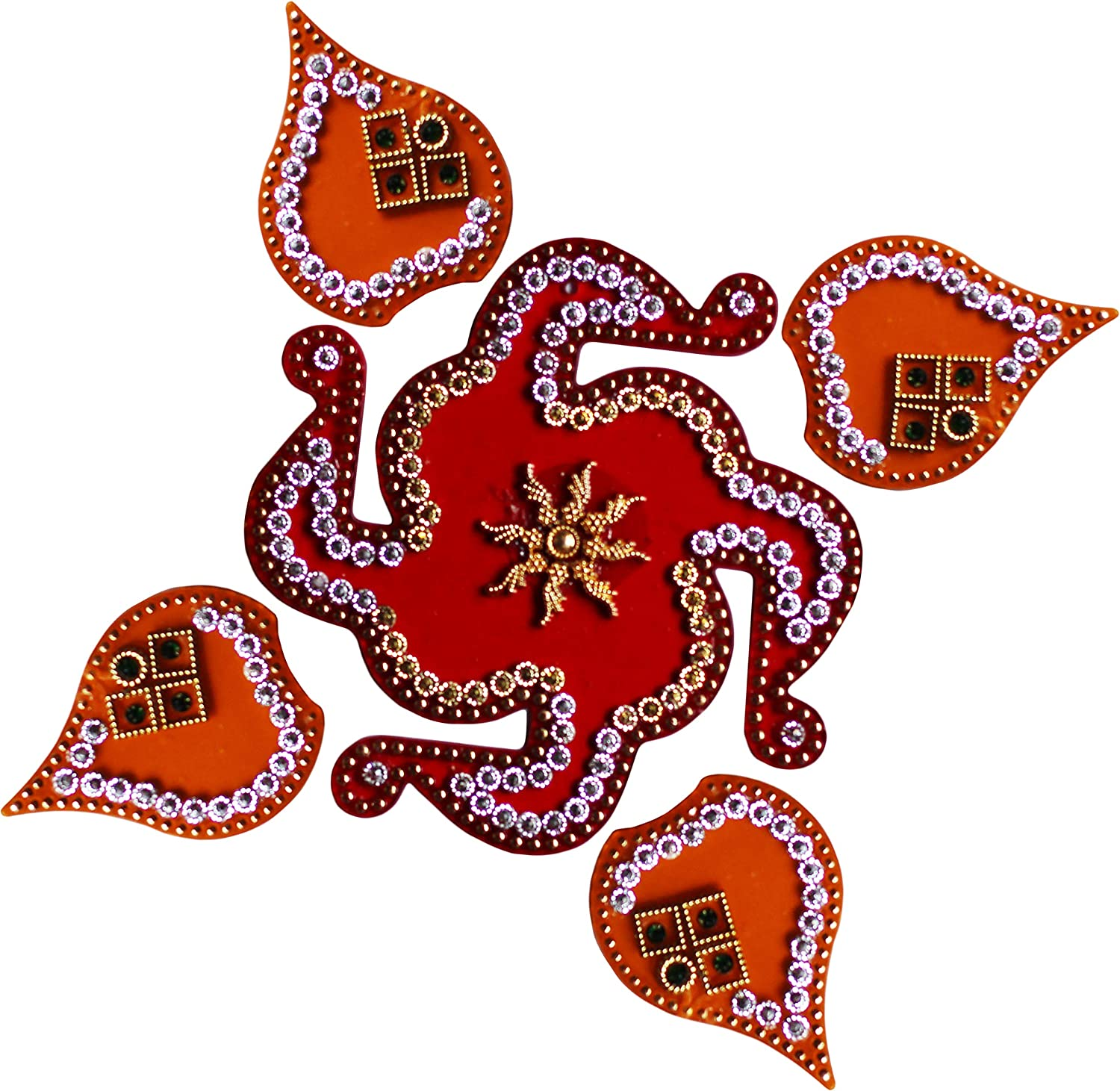 Diwali Acylic Multicolor Rangoli Floor Decorations with Studded Stones and Sequins, Traditional Festive Home Décor