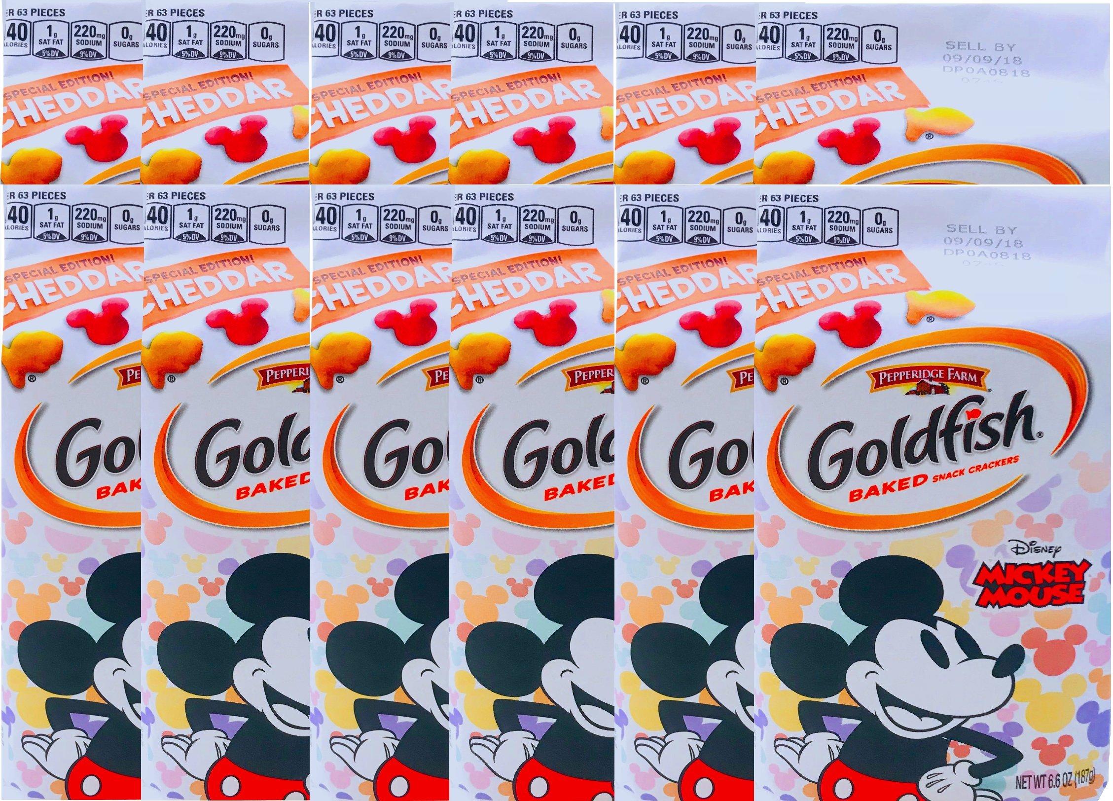 NEW Pepperidge Farm Goldfish Baked Special Edition Cheddar Mickey Mouse Net Wt 6.6 Oz (12) by PepperidgeFarm