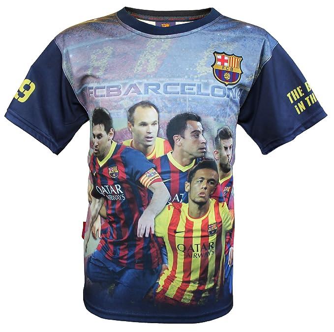 Joven Camiseta Messi Piqué Xavi Iniesta Neymar, Barça, oficial FC Barcelona de colección, balón de fútbol club barcelona, niños tamaño azul 12 años: ...
